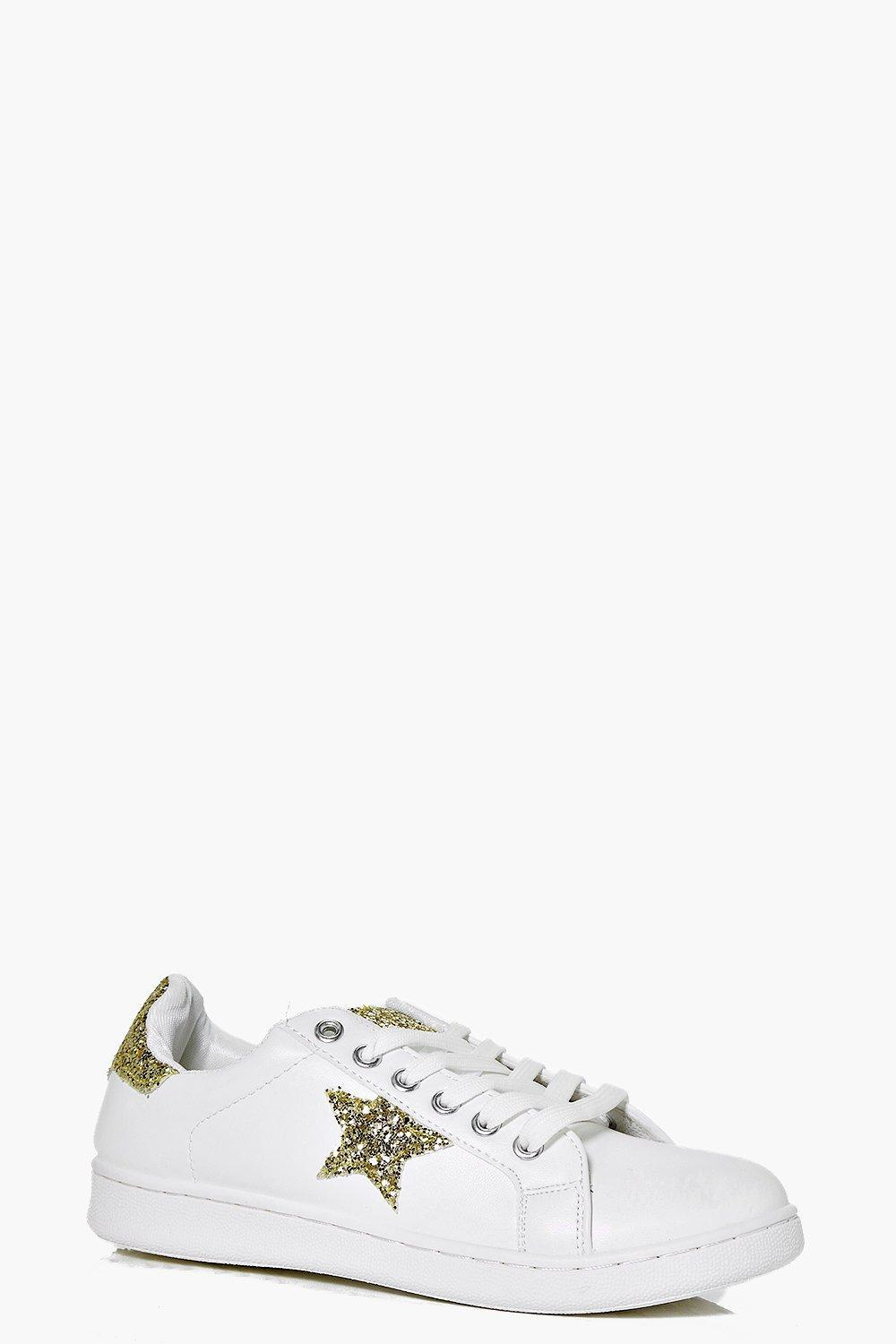 Star Detail Lace Up Trainer Gold - secondary colour: white; predominant colour: gold; occasions: casual; material: faux leather; heel height: flat; toe: round toe; style: trainers; finish: plain; pattern: patterned/print; season: s/s 2016; wardrobe: highlight