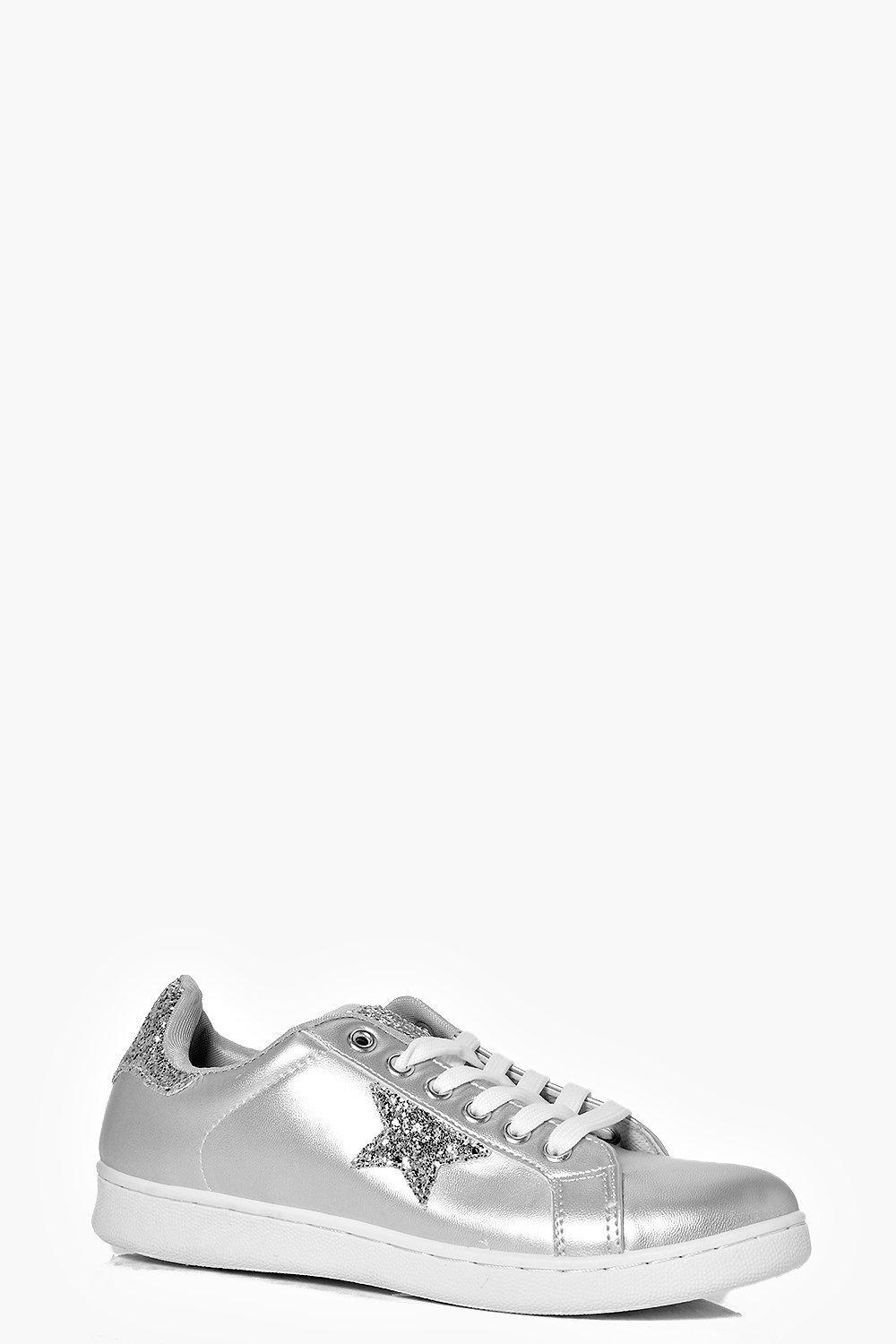 Star Detail Lace Up Trainer Silver - predominant colour: silver; occasions: casual; material: leather; heel height: flat; toe: round toe; style: trainers; finish: metallic; pattern: plain; season: s/s 2016