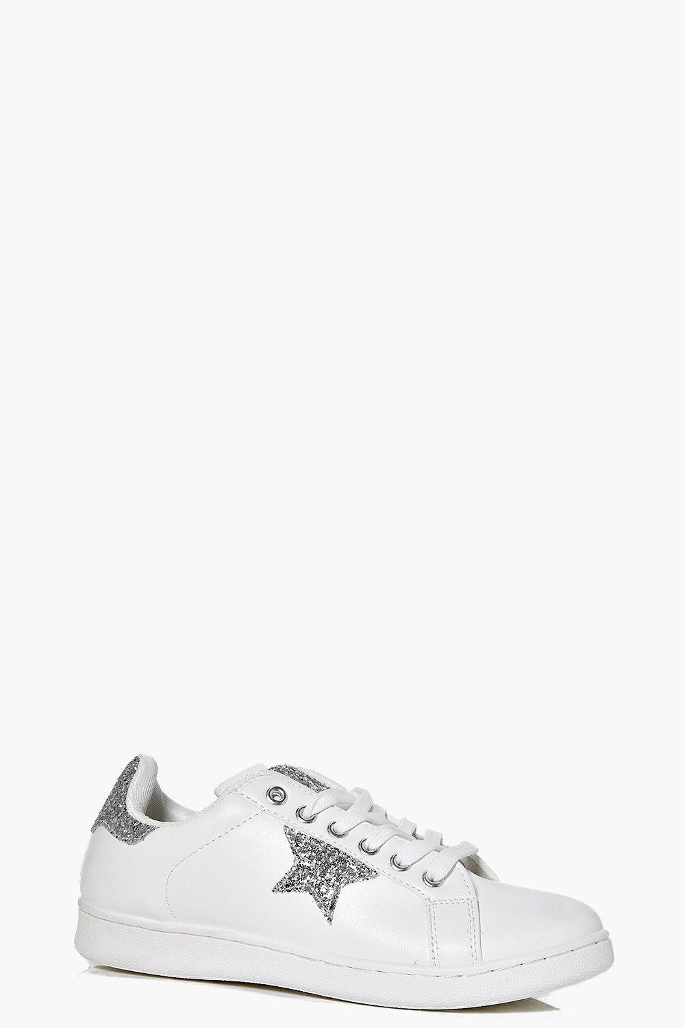 Star Detail Lace Up Trainer Silver - secondary colour: white; predominant colour: silver; occasions: casual; material: faux leather; heel height: flat; toe: round toe; style: trainers; finish: plain; pattern: patterned/print; season: s/s 2016; wardrobe: highlight