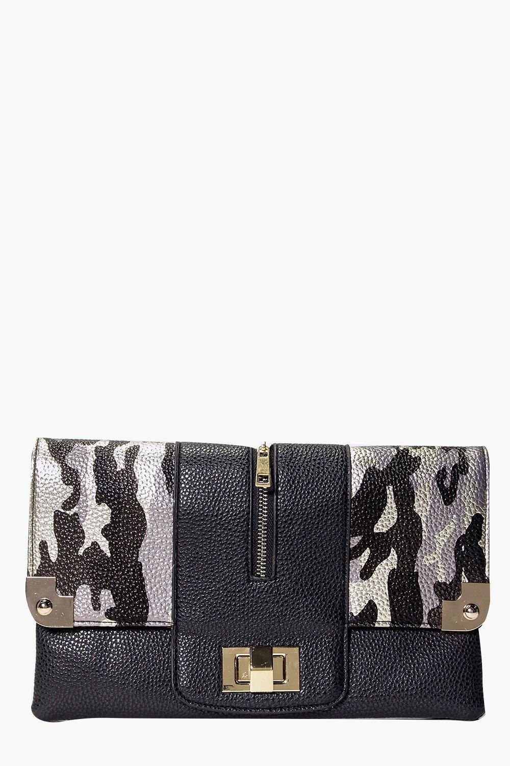Camouflage And Metal Detail Clutch Bag Black - secondary colour: white; predominant colour: black; occasions: evening; type of pattern: light; style: clutch; length: hand carry; size: small; material: faux leather; finish: plain; pattern: patterned/print; season: s/s 2016; wardrobe: event