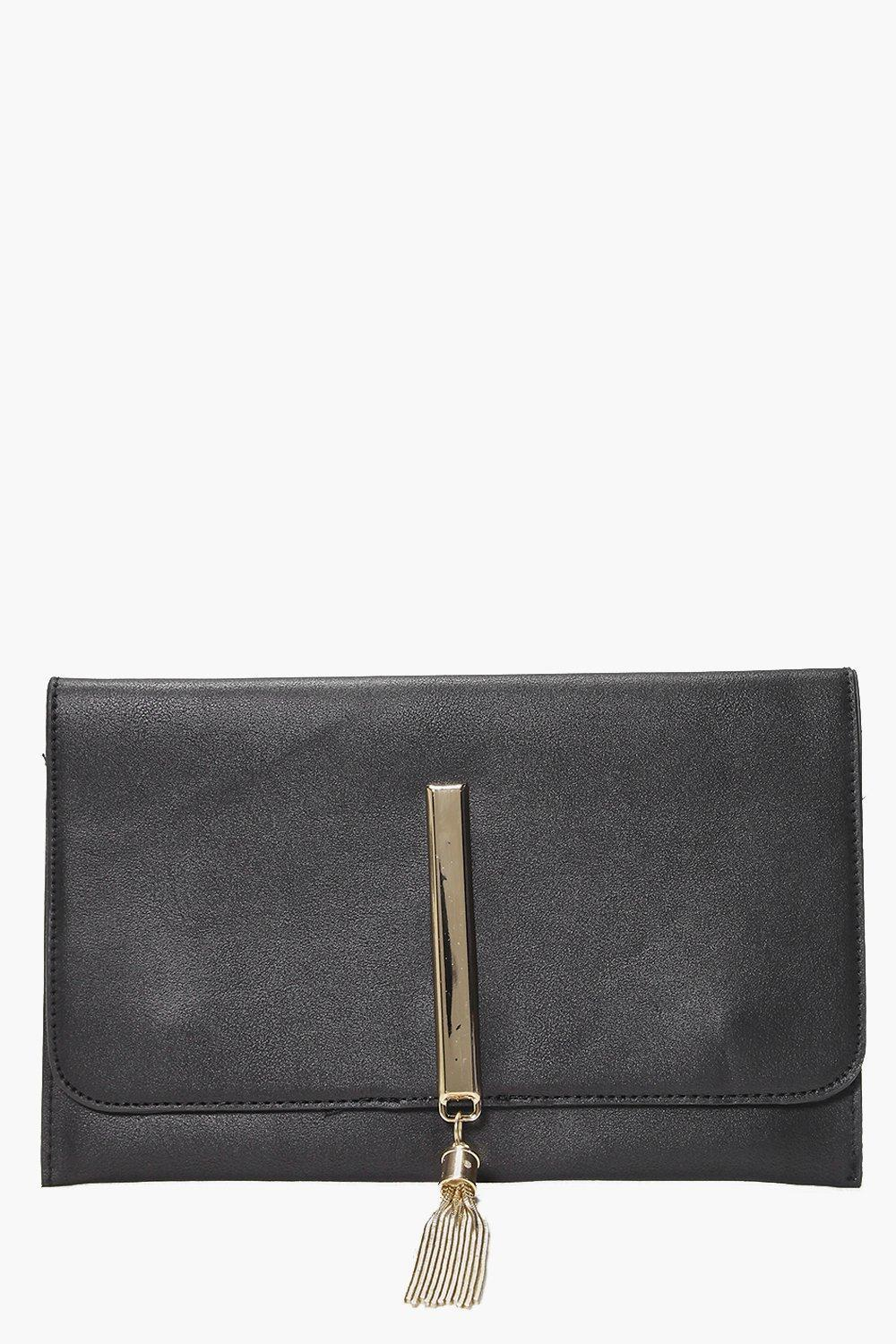 Metal Tassel Clutch Bag Black - predominant colour: black; occasions: evening; type of pattern: standard; style: clutch; length: hand carry; size: small; material: faux leather; embellishment: tassels; pattern: plain; finish: plain; season: s/s 2016; wardrobe: event