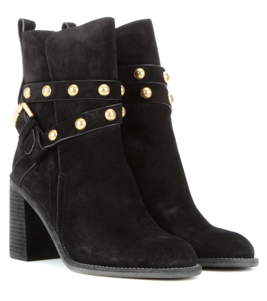 Embellished Suede Ankle Boots - predominant colour: black; occasions: casual, creative work; material: suede; heel height: high; embellishment: studs; heel: block; toe: round toe; boot length: ankle boot; style: standard; finish: plain; pattern: plain; season: s/s 2016; wardrobe: highlight