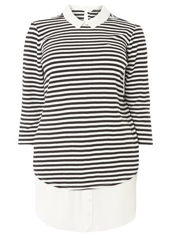 Womens Dp Curve Plus Size Monochrome Stripe 2 In 1 Shirt Black - pattern: horizontal stripes; length: below the bottom; style: shirt; secondary colour: white; predominant colour: black; occasions: casual, creative work; fibres: polyester/polyamide - mix; fit: body skimming; neckline: no opening/shirt collar/peter pan; sleeve length: 3/4 length; sleeve style: standard; pattern type: fabric; texture group: jersey - stretchy/drapey; pattern size: big & busy (top); season: s/s 2016; wardrobe: basic