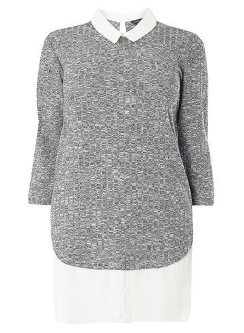 Womens Dp Curve Plus Size Grey Salt N Pepper 2 In 1 Shirt Grey - neckline: shirt collar/peter pan/zip with opening; pattern: plain; style: shirt; secondary colour: white; predominant colour: mid grey; occasions: casual, creative work; fibres: polyester/polyamide - mix; fit: body skimming; length: mid thigh; sleeve length: 3/4 length; sleeve style: standard; pattern type: fabric; texture group: jersey - stretchy/drapey; season: s/s 2016; wardrobe: basic