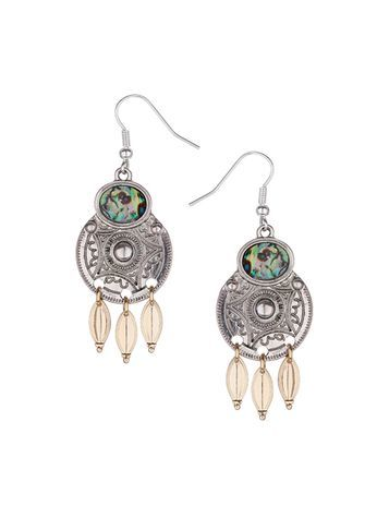 Womens Engraved Disc Drop Earrings Silver - predominant colour: silver; occasions: evening; style: drop; length: long; size: large/oversized; material: chain/metal; fastening: pierced; finish: metallic; season: s/s 2016; wardrobe: event