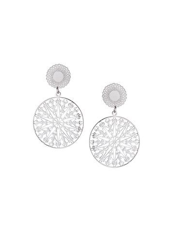 Womens Silver Filigree Disc Earrings Silver - predominant colour: silver; occasions: evening, occasion; style: drop; length: long; size: large/oversized; material: chain/metal; fastening: pierced; finish: metallic; season: s/s 2016; wardrobe: event