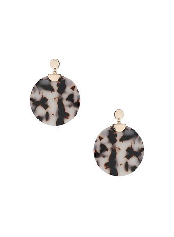 Womens Oversized Marble Earrings Black - secondary colour: white; predominant colour: charcoal; occasions: evening, occasion; style: drop; length: mid; size: standard; material: chain/metal; fastening: pierced; finish: metallic; embellishment: jewels/stone; season: s/s 2016; wardrobe: event
