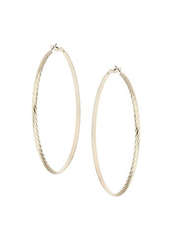 Womens Large Gold Hoops Gold - predominant colour: gold; occasions: evening, occasion; style: hoop; length: long; size: large/oversized; material: chain/metal; fastening: pierced; finish: metallic; season: s/s 2016; wardrobe: event