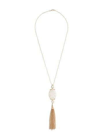 Womens Cream Stone Necklace Cream - predominant colour: gold; occasions: evening; style: pendant; length: long; size: large/oversized; material: chain/metal; finish: metallic; embellishment: tassels; season: s/s 2016; wardrobe: event