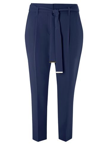 Womens Navy Tie Waist Tapered Trousers Blue - pattern: plain; style: harem/slouch; waist detail: belted waist/tie at waist/drawstring; waist: mid/regular rise; predominant colour: navy; occasions: casual; length: ankle length; fibres: polyester/polyamide - stretch; fit: tapered; pattern type: fabric; texture group: other - light to midweight; season: s/s 2016; wardrobe: highlight