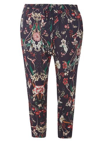 Womens Petite Navy Floral Joggers Blue - waist: mid/regular rise; predominant colour: purple; occasions: casual; length: ankle length; fibres: viscose/rayon - 100%; fit: slim leg; pattern type: fabric; pattern: florals; texture group: woven light midweight; style: standard; multicoloured: multicoloured; season: s/s 2016; wardrobe: highlight