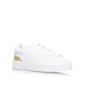 Palyla3 - predominant colour: white; secondary colour: gold; occasions: casual, creative work; material: leather; heel height: flat; toe: round toe; style: trainers; finish: plain; pattern: plain; shoe detail: moulded soul; season: s/s 2016; wardrobe: highlight