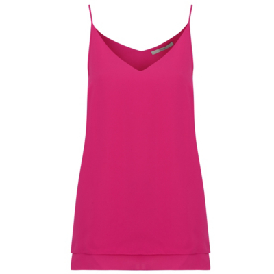 Camisole Top Pink - neckline: low v-neck; sleeve style: spaghetti straps; pattern: plain; style: camisole; predominant colour: hot pink; occasions: casual; length: standard; fibres: polyester/polyamide - 100%; fit: body skimming; sleeve length: sleeveless; texture group: sheer fabrics/chiffon/organza etc.; pattern type: fabric; season: s/s 2016; wardrobe: highlight
