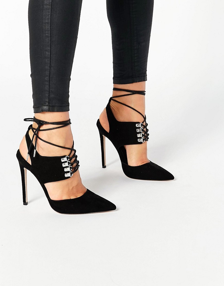 Patrol Lace Up Pointed Heels Black - predominant colour: black; occasions: evening, occasion; material: suede; ankle detail: ankle tie; heel: stiletto; toe: pointed toe; style: slingbacks; finish: plain; pattern: plain; heel height: very high; season: s/s 2016; wardrobe: event