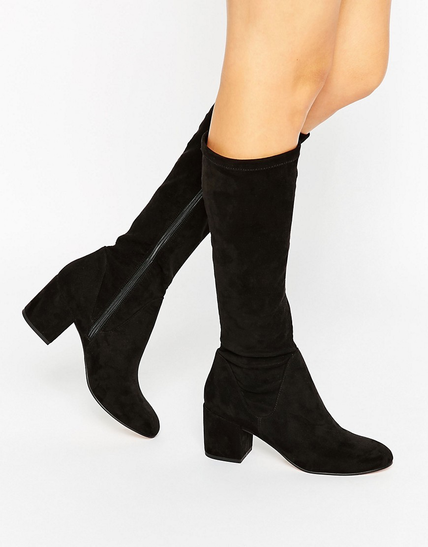 Cameron Knee High Boots Black - predominant colour: black; occasions: casual, creative work; heel height: mid; heel: block; toe: round toe; boot length: mid calf; style: standard; finish: plain; pattern: plain; material: faux suede; season: s/s 2016