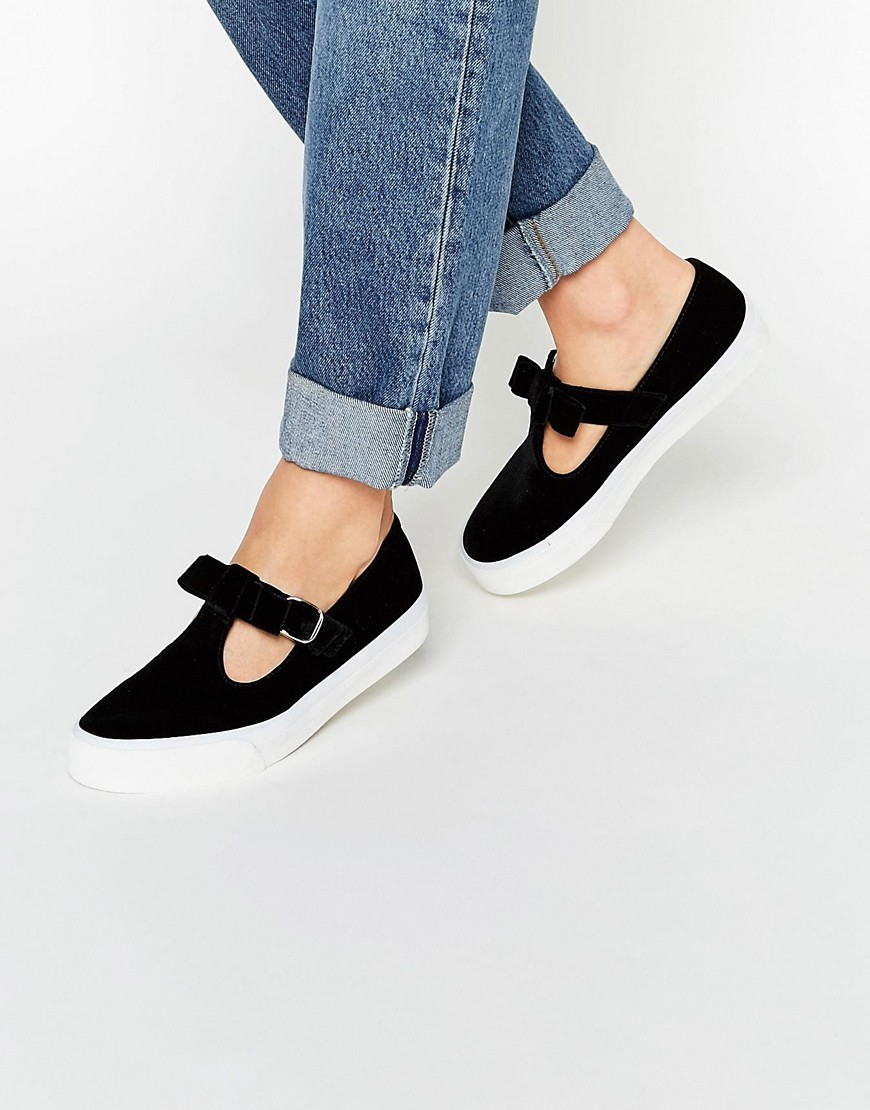 Debbie Velvet Bow Trainers Black - predominant colour: black; occasions: casual; material: fabric; heel height: flat; toe: round toe; style: trainers; finish: plain; pattern: plain; embellishment: bow; season: s/s 2016; wardrobe: basic