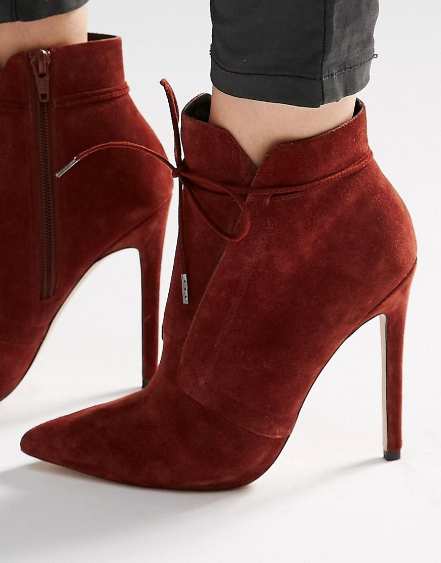 Eddie Suede Pointed Lace Up Boots Choc - occasions: casual, evening, creative work; material: suede; heel: stiletto; toe: pointed toe; boot length: ankle boot; style: standard; finish: plain; pattern: plain; heel height: very high; predominant colour: raspberry; season: s/s 2016; wardrobe: highlight