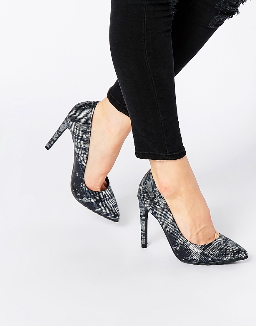 Lizard Print Court Shoes Pewter Metal Lizzard - predominant colour: black; occasions: evening, occasion, creative work; material: faux leather; heel: stiletto; toe: pointed toe; style: courts; finish: plain; pattern: animal print; heel height: very high; season: s/s 2016; wardrobe: highlight