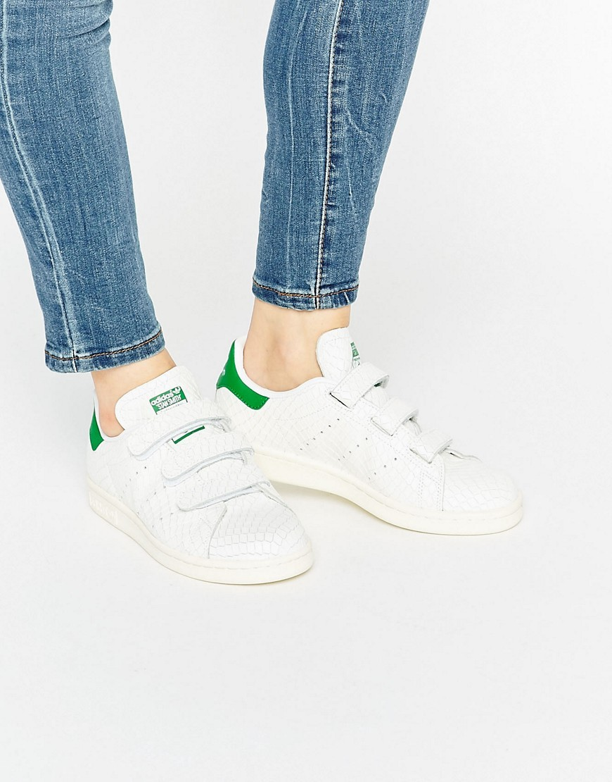 Originals Faux Snake White Velcro Stan Smith Trainers White - predominant colour: white; secondary colour: emerald green; occasions: casual; material: faux leather; heel height: flat; toe: round toe; style: trainers; finish: plain; pattern: plain; season: s/s 2016; wardrobe: basic