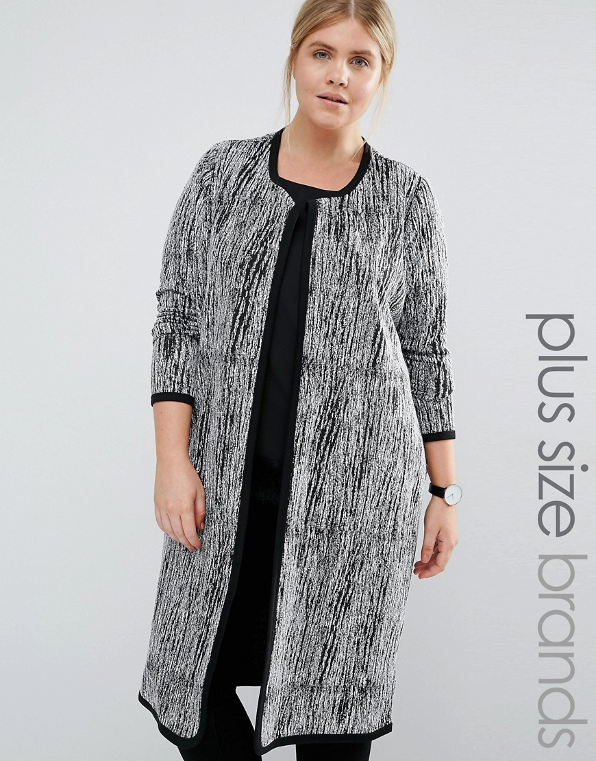 Longline Coatigan Multi - neckline: collarless open; hip detail: draws attention to hips; style: open front; length: on the knee; predominant colour: mid grey; occasions: casual; fibres: polyester/polyamide - 100%; fit: slim fit; sleeve length: long sleeve; sleeve style: standard; texture group: knits/crochet; pattern type: fabric; pattern size: standard; pattern: patterned/print; multicoloured: multicoloured; season: s/s 2016; wardrobe: highlight