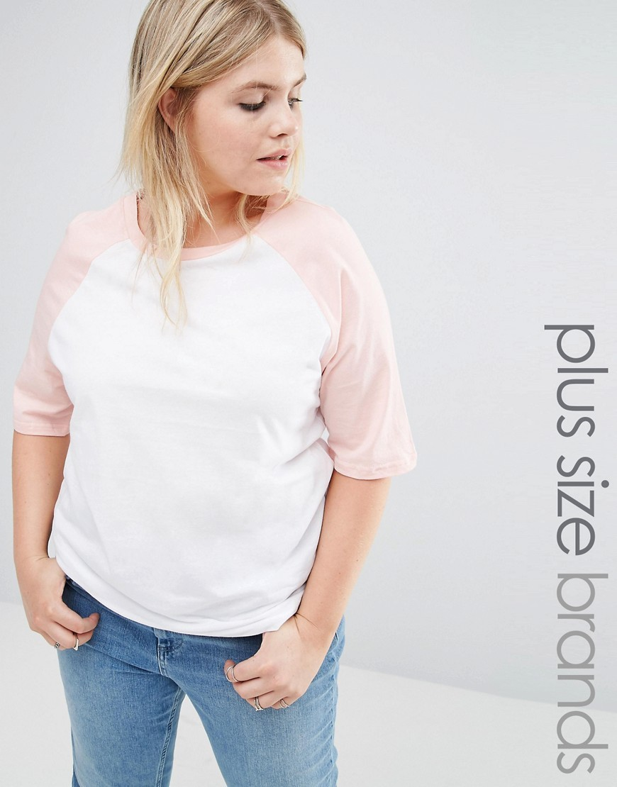 Raglan Sleeve Jersey Tshirt Blush - sleeve style: raglan; pattern: plain; style: t-shirt; predominant colour: white; occasions: casual; length: standard; fibres: cotton - 100%; fit: body skimming; neckline: crew; sleeve length: half sleeve; pattern type: fabric; texture group: jersey - stretchy/drapey; multicoloured: multicoloured; season: s/s 2016; wardrobe: basic