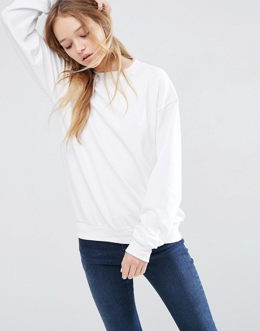 The Ultimate Boyfriend Sweat White - pattern: plain; style: sweat top; predominant colour: white; occasions: casual; length: standard; fibres: cotton - 100%; fit: body skimming; neckline: crew; sleeve length: long sleeve; sleeve style: standard; pattern type: fabric; texture group: jersey - stretchy/drapey; season: s/s 2016; wardrobe: basic