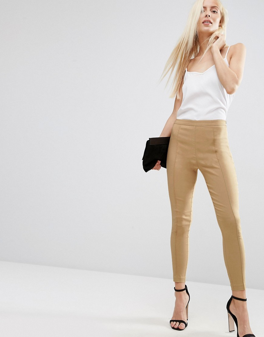Skinny Crop Trousers Camel - pattern: plain; waist: mid/regular rise; predominant colour: camel; occasions: evening; length: ankle length; fibres: polyester/polyamide - stretch; fit: skinny/tight leg; pattern type: fabric; texture group: other - clingy; style: standard; season: s/s 2016; wardrobe: event