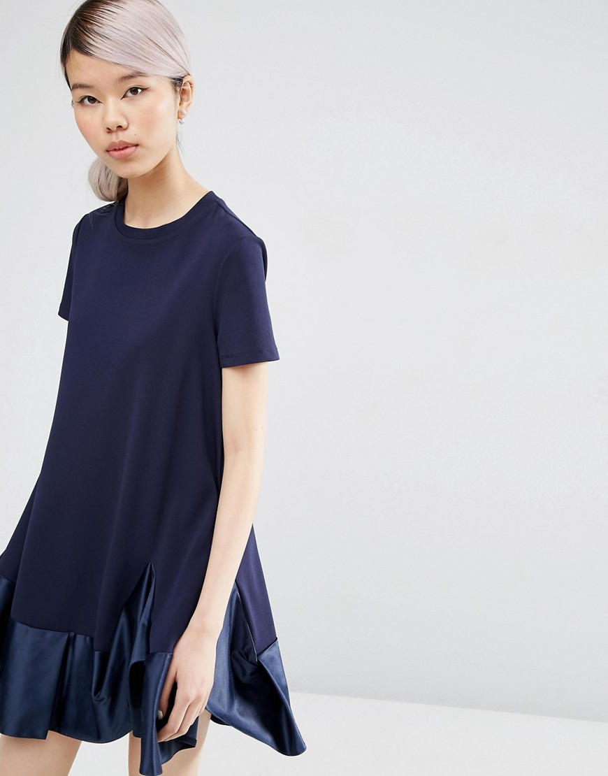 Premium T Shirt Dress With Satin Frill Pephem Navy - style: t-shirt; fit: loose; pattern: plain; predominant colour: navy; occasions: evening; length: just above the knee; fibres: polyester/polyamide - stretch; neckline: crew; sleeve length: short sleeve; sleeve style: standard; texture group: crepes; pattern type: fabric; season: s/s 2016
