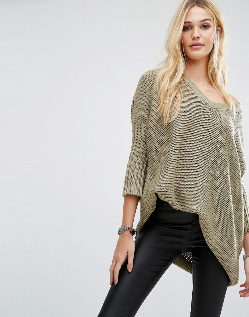 Deep V Neck Oversize Knit Jumper Mermaid - neckline: off the shoulder; pattern: plain; length: below the bottom; style: standard; predominant colour: khaki; occasions: casual; fibres: acrylic - 100%; fit: loose; sleeve length: 3/4 length; sleeve style: standard; texture group: knits/crochet; pattern type: fabric; season: s/s 2016; wardrobe: highlight