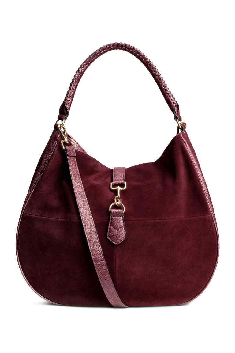 Hobo Bag With Suede Details - predominant colour: burgundy; occasions: casual, creative work; type of pattern: standard; style: shoulder; length: shoulder (tucks under arm); size: standard; material: suede; pattern: plain; finish: plain; season: s/s 2016