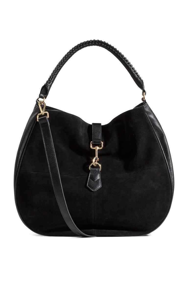 Hobo Bag With Suede Details - predominant colour: black; occasions: casual, work, creative work; type of pattern: standard; style: shoulder; length: shoulder (tucks under arm); size: standard; material: suede; pattern: plain; finish: plain; season: s/s 2016