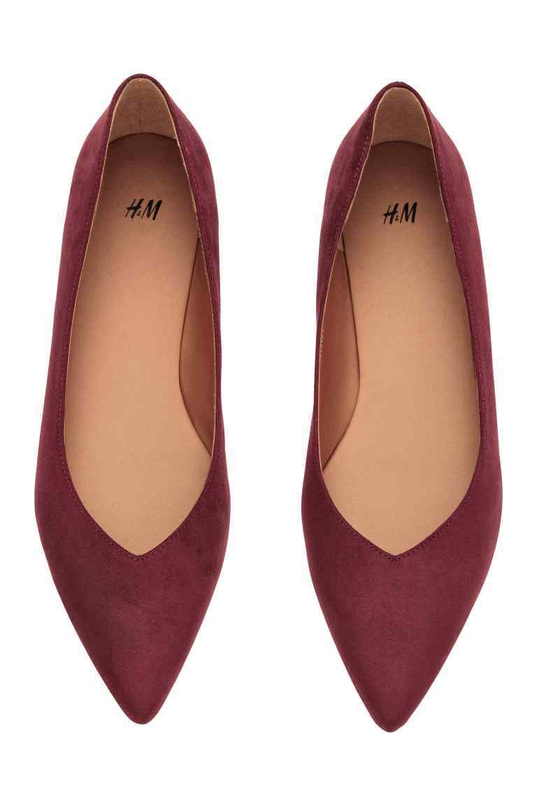 Ballet Pumps - predominant colour: burgundy; occasions: casual, creative work; material: fabric; heel height: flat; toe: pointed toe; style: ballerinas / pumps; finish: plain; pattern: plain; season: s/s 2016
