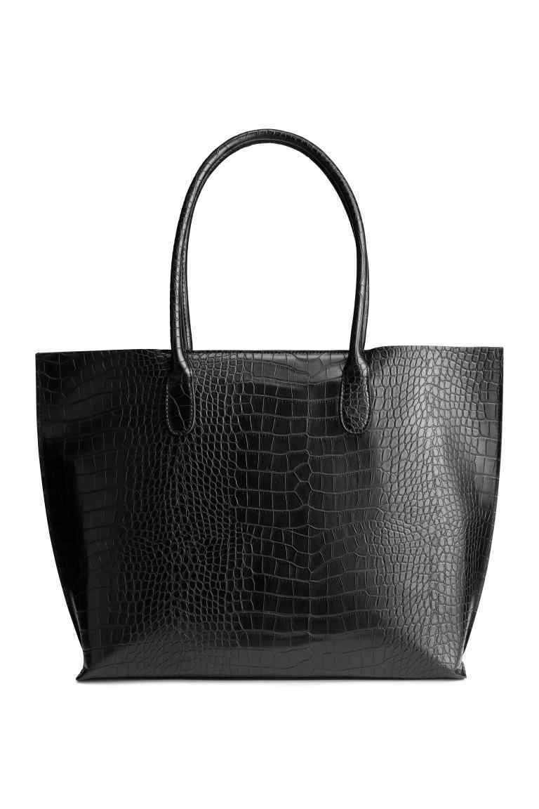 Crocodile Patterned Shopper - predominant colour: black; occasions: work, creative work; type of pattern: standard; style: tote; length: handle; size: oversized; material: faux leather; pattern: animal print; finish: plain; season: s/s 2016; wardrobe: highlight