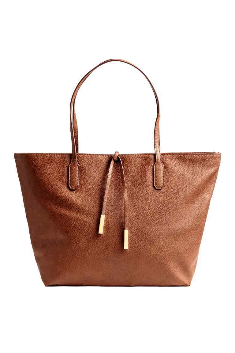 Shopper With Ties - predominant colour: tan; occasions: casual, creative work; type of pattern: standard; style: tote; length: shoulder (tucks under arm); size: standard; material: faux leather; pattern: plain; finish: plain; season: s/s 2016; wardrobe: highlight