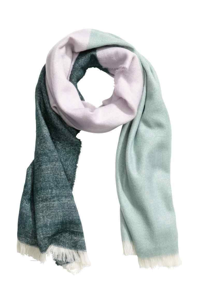 Block Print Scarf - predominant colour: dark green; secondary colour: pistachio; occasions: casual; type of pattern: standard; style: regular; size: standard; material: fabric; pattern: colourblock; season: s/s 2016; wardrobe: highlight