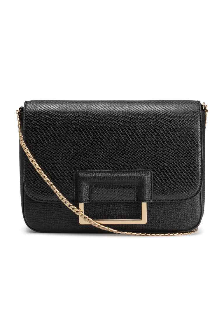 Shoulder Bag - predominant colour: black; occasions: casual; type of pattern: standard; style: shoulder; length: across body/long; size: small; material: faux leather; pattern: plain; finish: plain; season: s/s 2016; wardrobe: investment