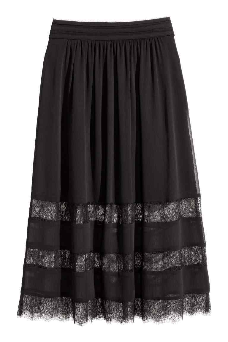 Chiffon Skirt With Lace - length: below the knee; pattern: plain; style: full/prom skirt; fit: loose/voluminous; waist: mid/regular rise; predominant colour: black; occasions: evening; fibres: polyester/polyamide - 100%; texture group: sheer fabrics/chiffon/organza etc.; pattern type: fabric; embellishment: lace; season: s/s 2016; wardrobe: event; embellishment location: hem
