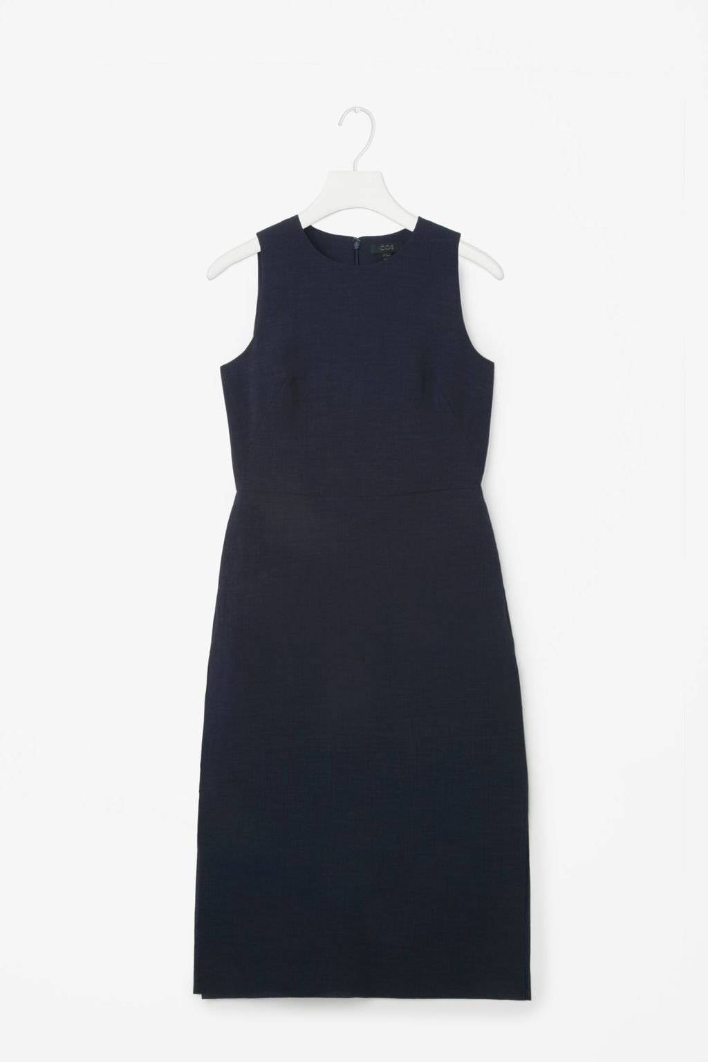 Mid Length Sleeveless Dress - style: shift; fit: tailored/fitted; pattern: plain; sleeve style: sleeveless; predominant colour: navy; occasions: evening, work, creative work; length: just above the knee; fibres: polyester/polyamide - 100%; neckline: crew; sleeve length: sleeveless; pattern type: fabric; texture group: woven light midweight; season: s/s 2016