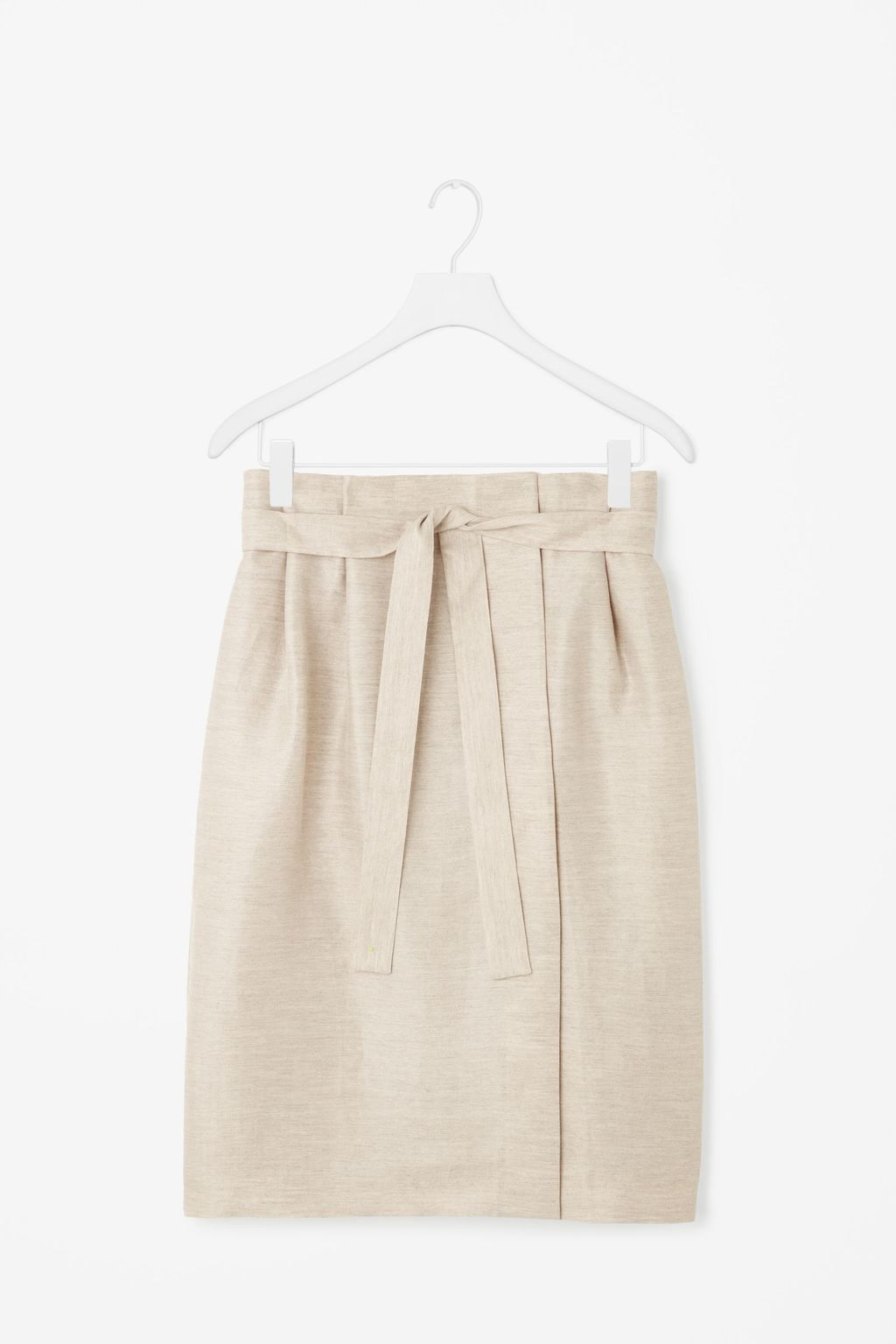 Wrap Front Linen Skirt - pattern: plain; style: wrap/faux wrap; waist: high rise; waist detail: belted waist/tie at waist/drawstring; predominant colour: ivory/cream; occasions: casual, creative work; length: just above the knee; fibres: linen - 100%; texture group: linen; fit: straight cut; pattern type: fabric; season: s/s 2016