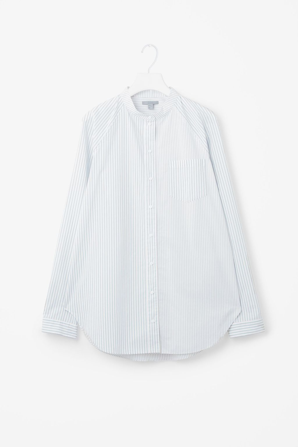 Striped Raglan Sleeved Grandad Shirt - length: below the bottom; style: shirt; pattern: pinstripe; predominant colour: pale blue; occasions: casual; neckline: collarstand; fibres: cotton - 100%; fit: loose; sleeve length: long sleeve; sleeve style: standard; texture group: cotton feel fabrics; pattern type: fabric; pattern size: standard; season: s/s 2016; wardrobe: highlight
