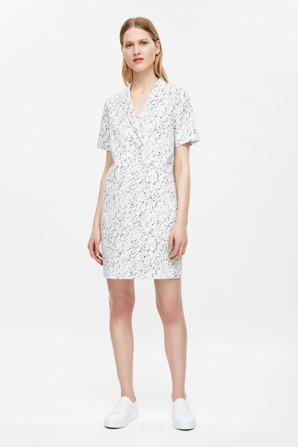 Short Sleeve Wrap Dress - style: faux wrap/wrap; neckline: v-neck; predominant colour: white; secondary colour: light grey; occasions: casual; length: just above the knee; fit: body skimming; fibres: cotton - 100%; sleeve length: short sleeve; sleeve style: standard; texture group: cotton feel fabrics; pattern type: fabric; pattern: patterned/print; multicoloured: multicoloured; season: s/s 2016; wardrobe: highlight