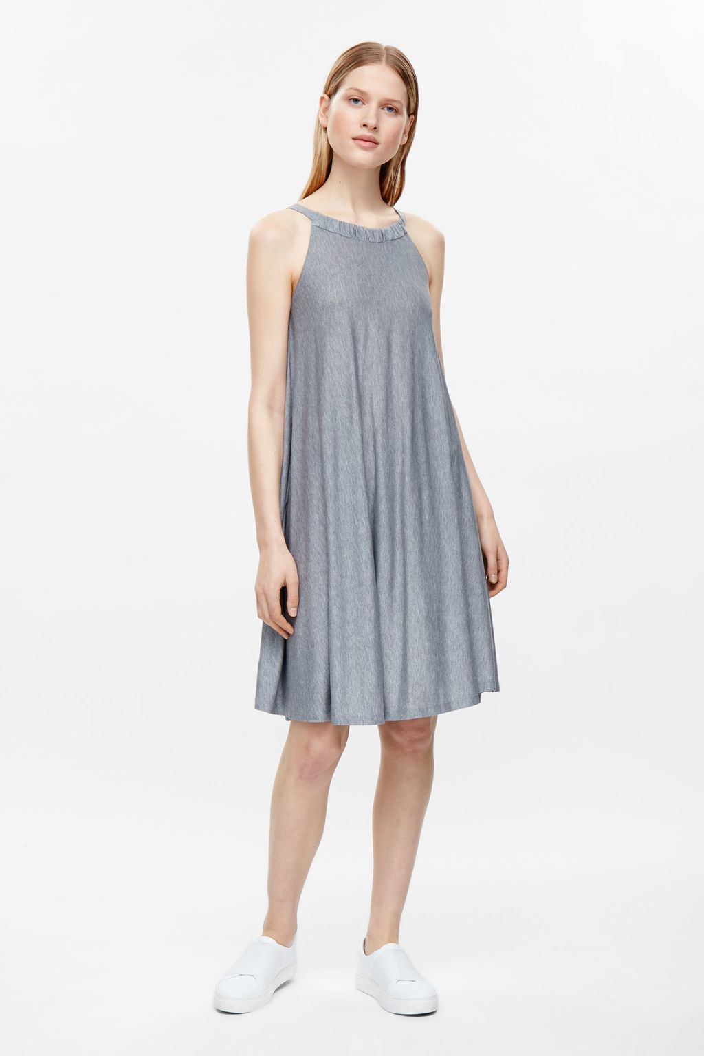 Dress With Drawstring Neck - style: smock; fit: loose; pattern: plain; sleeve style: sleeveless; predominant colour: mid grey; occasions: casual; length: on the knee; fibres: viscose/rayon - 100%; neckline: crew; sleeve length: sleeveless; pattern type: fabric; texture group: other - light to midweight; season: s/s 2016