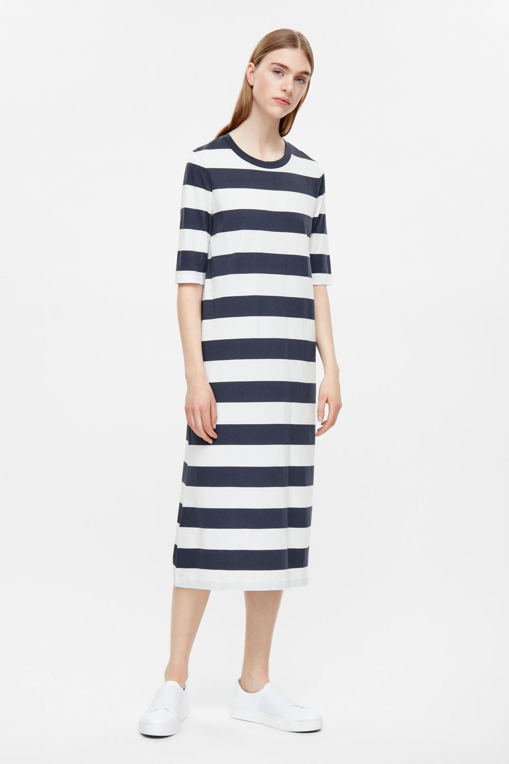 Striped Jersey Dress - style: shift; length: calf length; pattern: horizontal stripes; predominant colour: white; secondary colour: navy; occasions: casual; fit: body skimming; fibres: cotton - 100%; neckline: crew; sleeve length: half sleeve; sleeve style: standard; pattern type: fabric; texture group: jersey - stretchy/drapey; multicoloured: multicoloured; season: s/s 2016; wardrobe: basic