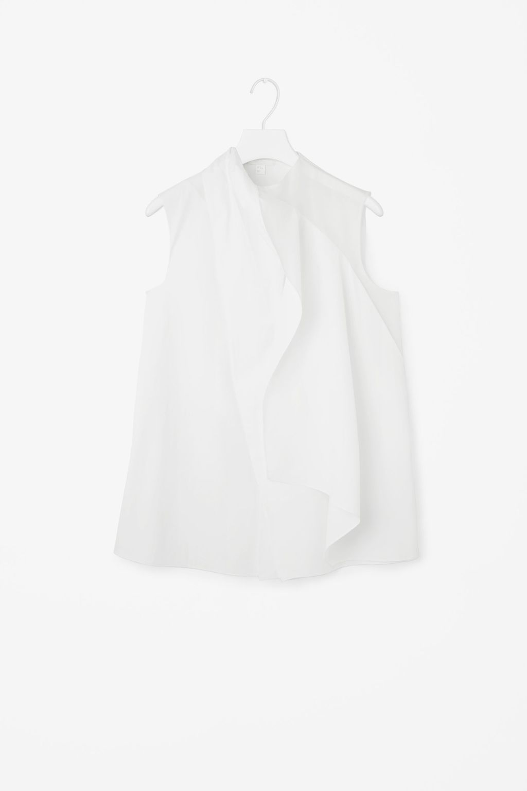 Draped Top - pattern: plain; sleeve style: sleeveless; predominant colour: light grey; occasions: casual, creative work; length: standard; style: top; fibres: cotton - 100%; fit: straight cut; neckline: crew; sleeve length: sleeveless; texture group: cotton feel fabrics; pattern type: fabric; season: s/s 2016; wardrobe: basic