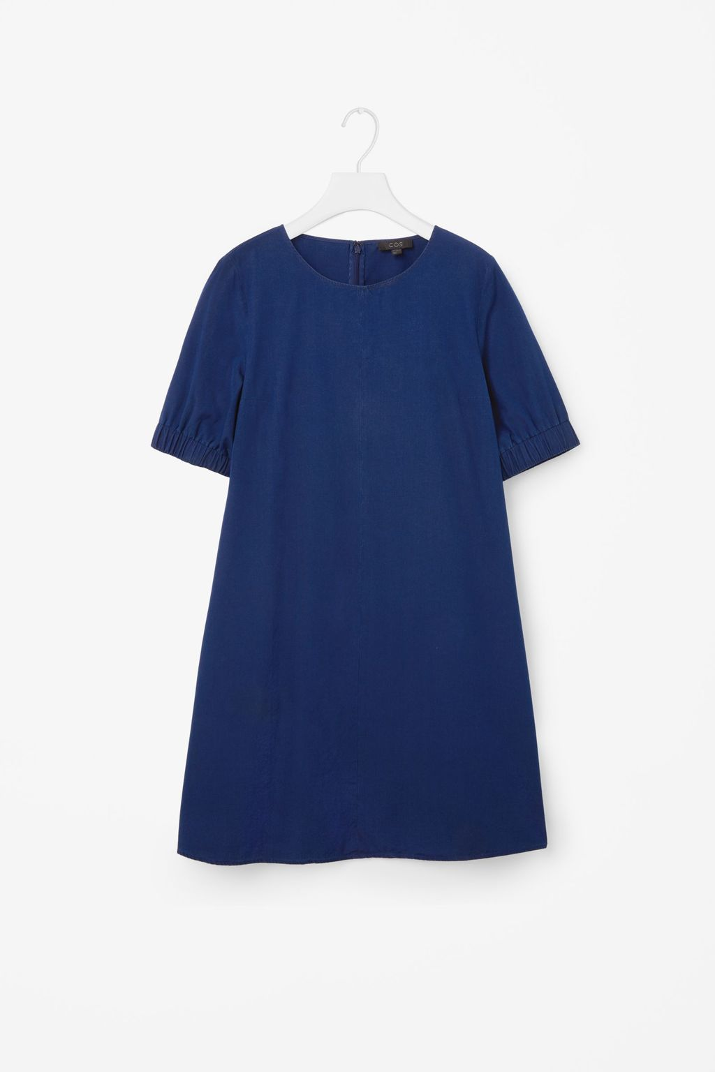 Denim Dress With Elastic Sleeves - style: shift; pattern: plain; predominant colour: denim; occasions: casual; length: just above the knee; fit: soft a-line; fibres: cotton - 100%; neckline: crew; sleeve length: short sleeve; sleeve style: standard; texture group: denim; pattern type: fabric; season: s/s 2016