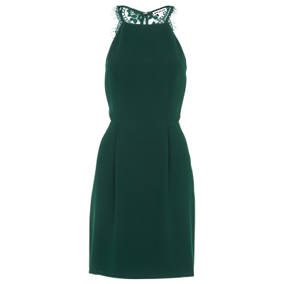 Portia Lace Back Dress - style: shift; length: mid thigh; fit: tailored/fitted; pattern: plain; sleeve style: sleeveless; predominant colour: dark green; occasions: evening, occasion; fibres: polyester/polyamide - 100%; neckline: crew; sleeve length: sleeveless; pattern type: fabric; texture group: other - light to midweight; embellishment: lace; season: s/s 2016; wardrobe: event; embellishment location: back