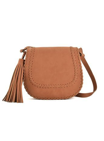 Sally Young Tan Shoulder Bag - predominant colour: tan; occasions: casual, creative work; type of pattern: standard; style: saddle; length: across body/long; size: standard; material: faux leather; embellishment: tassels; pattern: plain; finish: plain; season: s/s 2016; trends: tapestry