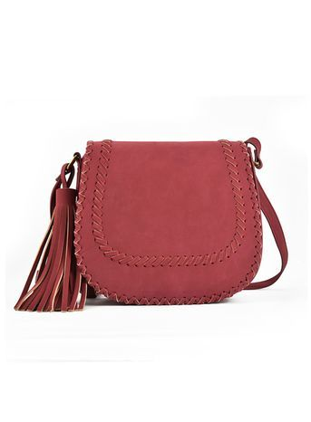 Sally Young Red Shoulder Bag - occasions: casual, creative work; type of pattern: standard; style: saddle; length: across body/long; size: standard; material: faux leather; embellishment: tassels; pattern: plain; finish: plain; predominant colour: raspberry; season: s/s 2016; wardrobe: highlight; trends: tapestry