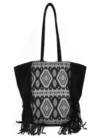 Sally Young Canvas Tote Bag - secondary colour: light grey; predominant colour: black; occasions: casual; type of pattern: standard; style: tote; length: shoulder (tucks under arm); size: standard; material: fabric; embellishment: tassels; finish: plain; pattern: patterned/print; season: s/s 2016; wardrobe: highlight
