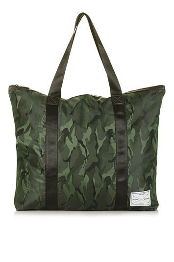 Nylon Oversized Shopper Bag - secondary colour: emerald green; predominant colour: dark green; occasions: casual; type of pattern: heavy; style: tote; length: shoulder (tucks under arm); size: standard; material: fabric; finish: plain; pattern: patterned/print; season: s/s 2016; wardrobe: highlight